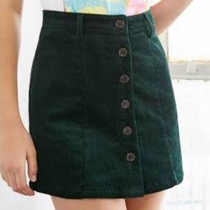 Green Corduroy High Waisted Button Up Skirt